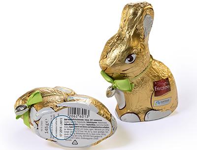 Druckmuster für Etikettenkennzeichnung bei Schokoladenhohlfiguren
