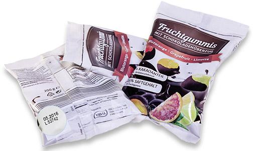 Druckmuster für Folienkennzeichnung bei Fruchtgummi