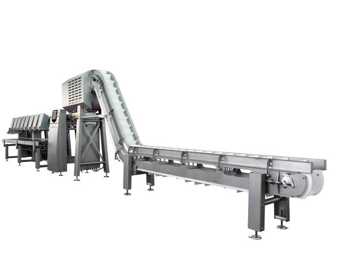 Der Ishida FlexGrader mit Hochleistungs-Zuführung sortiert Fleischprodukte nach Stückzahl oder Gewicht