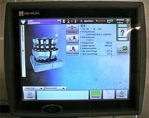 Die Mehrkopfwaage kann von zwei Stellen aus per Touchscreen bedient werden.