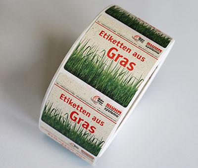 Nachhaltigkeit - Etiketten aus Gras von Bluhm Systeme