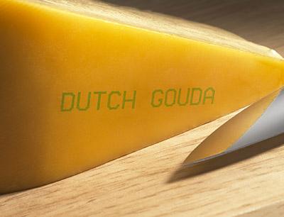 Bedruckter Käse mit lebensmittelechter Tinte