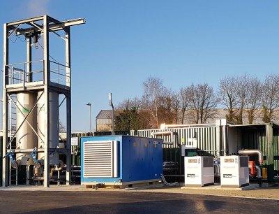 Mit der neuen Anlage entstehen aus 400 Normkubikmeter Rohbiogas stündlich etwa 200 Normkubikmeter aufbereitetes Biomethan