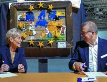 Ute Bischoff, geschäftsführende Gesellschafterin bei Heidelmann und Alfred Miller, Managing Director Dachser Food Logistics