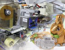 Druckmuster bei Etikettenkennzeichnung von Schokoladenhohlfiguren bei Brandt, Bilder: Domino Deutschland