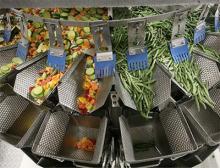 Vorgemischtes Gemüse und Bohnen als Monokomponente auf ihrem Weg in die Schalen der Mehrkopfwaage
